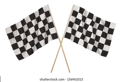 Two Checker Flags Crossed Isolated on a White Background.
