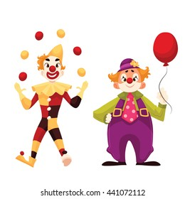 Two cheerful clown on a holiday, cartoon comic illustration isolated on a white background, funny shows tricks, holding balloon