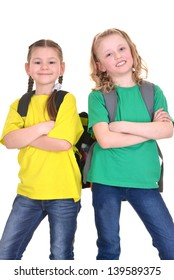 two cheerful school girls in colorful t-shirts on white background