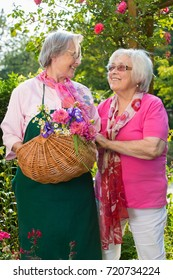 Two cheerful senior women standing in garden on sunny day, one of them holding basket with flowers
