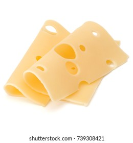 two Cheese slices isolated on white background