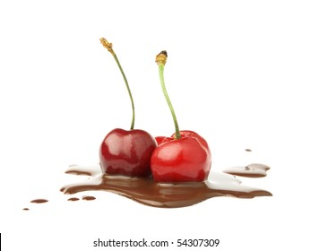 Two cherries dipped in melted chocolate on white background as package design element