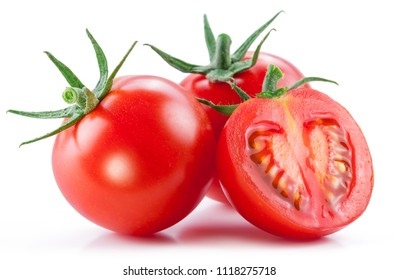 Two cherry tomatoes and a cross section of tomato isolated on white background.