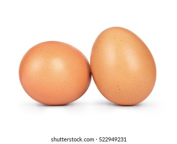 Two chicken eggs close-up isolated on white background