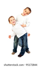 Two child brothers isolated on white