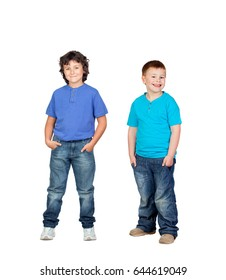 Two children in blue isolated on a white background