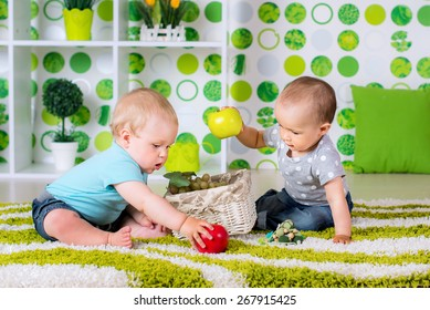 two children a boy and a girl have fun in kindergarten