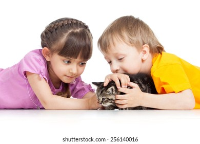 two children boy and girl playing with kitten