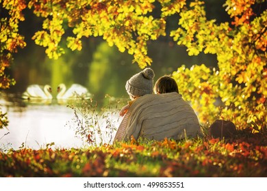 Two children, boys, hugging under blanket, sitting on the edge of a lake on a sunny autumn afternoon, watching swans swimming in the lake, beautiful autumn colors