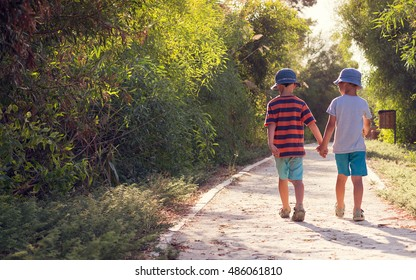 Two children boys walking on path in park holding hands, back view.