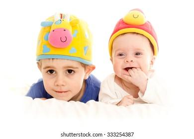 Two children looking