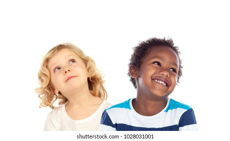 Two children looking up isolated on a white backround