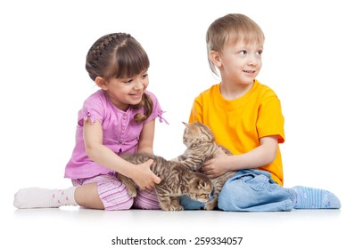 two children playing with kitten isolated on white