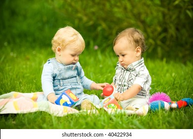 two children playing in park