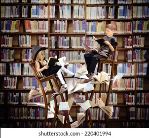 Two children are reading books on long, surreal wooden chairs in a library with books and papers flying around them for an education or imagination concept.