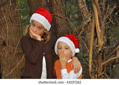 two children think they hear santa in the woods