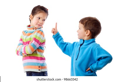 Two children who are arguing, isolated on white