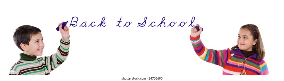 Two children writing back to school on a over white background