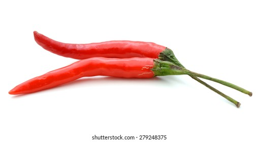 two chili peppers on white background