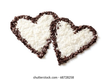 two chocolate hearts