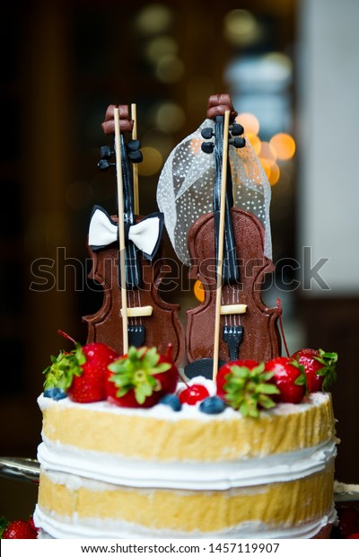Surprising Two Chocolate Violin Tops Wedding Cake Stock Photo Edit Now Funny Birthday Cards Online Alyptdamsfinfo