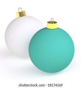 two christmas balls isolated on white
