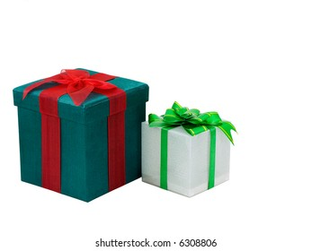 Two christmas presents isolated on white