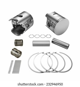 Two chrome disassembled polished pistons with connection rods isolated on white