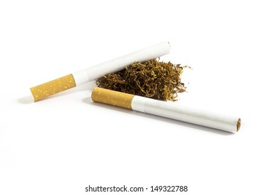 Two cigarette and tobacco with white background