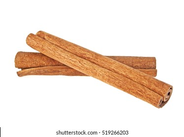 Two cinnamon sticks isolated on white background
