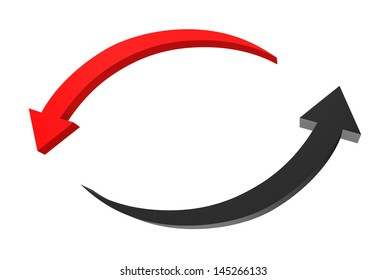 Two circular arrows isolated on white