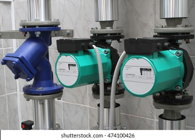 Two circulating pumps and the water filter - the boiler-house equipment