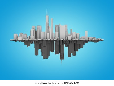 two cities on a blue background