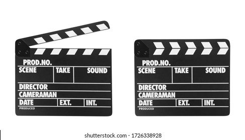 Two clapper boards on white background. Cinema production
