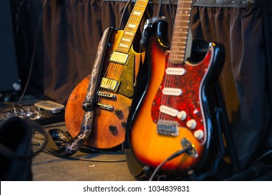 Two classic electric guitars ready to be played in a music studio. Musical Instrument. Concept: Creativity, be able to create.