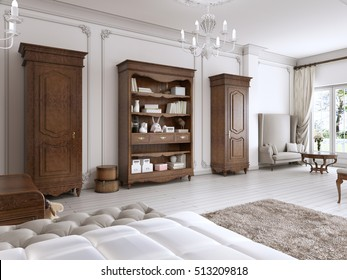 Two classic wardrobe and shelving brown colors with books and decor. The furniture in the nursery. 3D render.