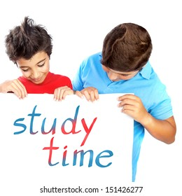 Two classmate with billboard isolated on white background, enjoying study time, text space, back to school, education concept