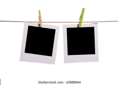 Two clear photos on a rope