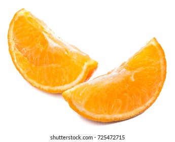 Two Clementine slices isolated on white background
