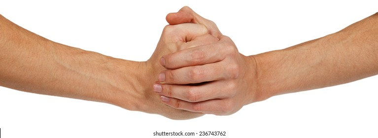 Two clenched male hands isolated on white background