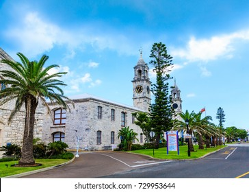 Two Clock Towers on Old Naval Dockyard in Bermuda