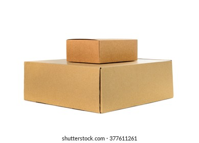 Two closed big and small cardboard Box or brown paper package box isolated with soft shadow on White background
