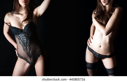 Two closeups of a perfect female body in black lingerie, studio shot in front of dark studio background