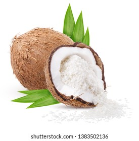 two coconut chopped isolated on white background clipping path