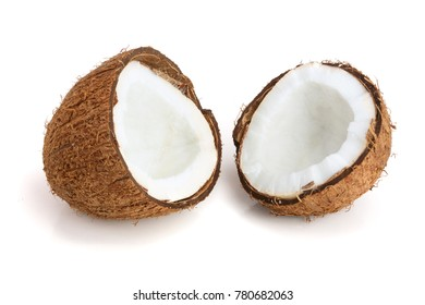 two coconut half isolated on white background