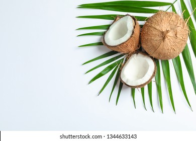 Two coconut one of which split with palm branch on white background