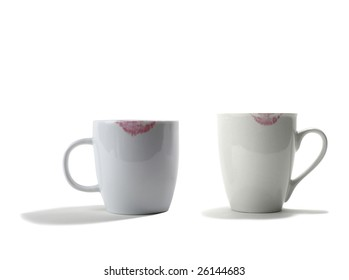 Two Coffee cup with lipstick marks