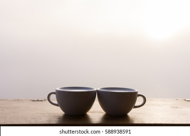 two coffee cups in the morning