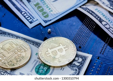 two coins bitcoin lie on two bucks. Bitcoin drop to such a low price. collapse failure