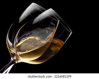 Two cold wine glasses, close up